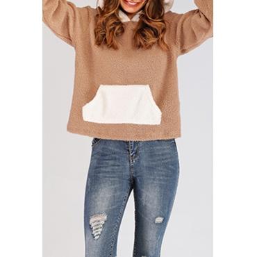 Lovely Trendy Hooded Collar Khaki Hoodie