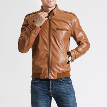 Lovely Casual Mandarin Collar Zipper Design Brown Leather