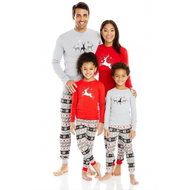 Lovely Family Printed Grey Father Two-piece Pants Set