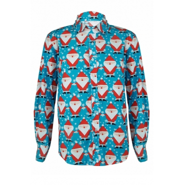 Lovely Casual Santa Claus Printed Baby Blue Shirt