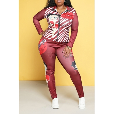 Lovely Trendy Printed Red Plus Size Two-piece Pants Set