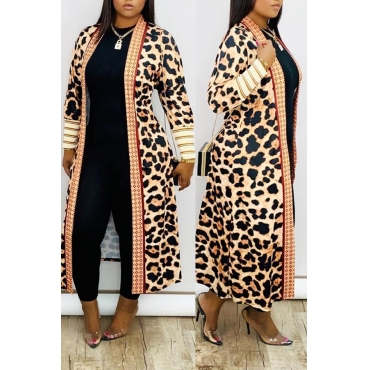 Lovely Casual Leopard Print Cardigan Long Length Top Clothing Size M To XXXL