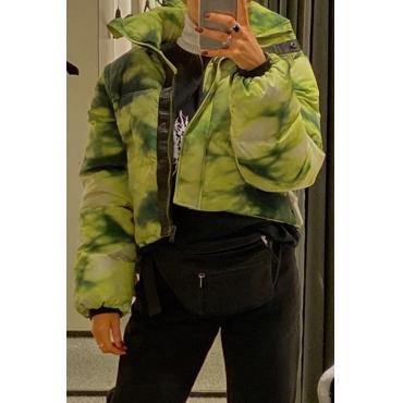 Lovely Casual Turndown Collar Green Coat