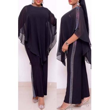 Lovely Casual Cloak Design Black Plus Size Two-piece Pants Set
