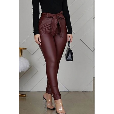 Lovely Trendy Drawstring Wine Red Pants