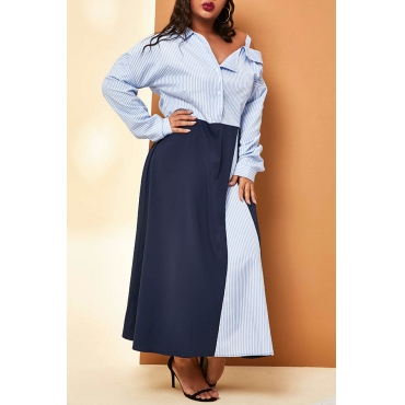 Lovely Casual Patchwork Striped Ankle Length Plus Size Dress