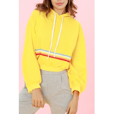 Lovely Casual Long Sleeves Webbing Yellow Hoodies