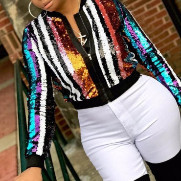 Lovely Trendy Striped Multicolor Coat