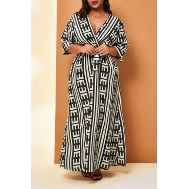 Lovely Casual V Neck Printed Black Ankle Length Plus Size Dress