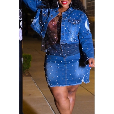 Lovely Casual Nail Bead Design Blue Plus Size Two-piece Skirt Set