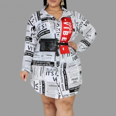 Lovely Casual Letter Printed White Plus Size Mini Dress
