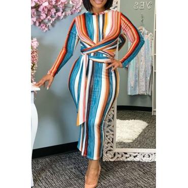 Lovely Trendy Striped Multicolor Ankle Length Dress