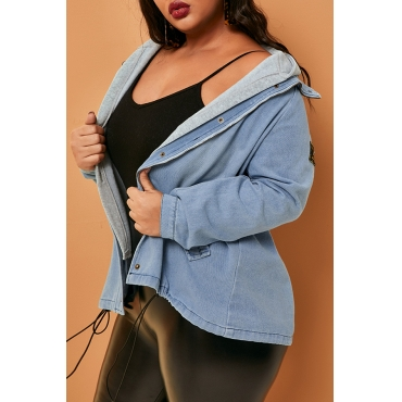 Lovely Casual Hooded Collar Baby Blue Plus Size Coat