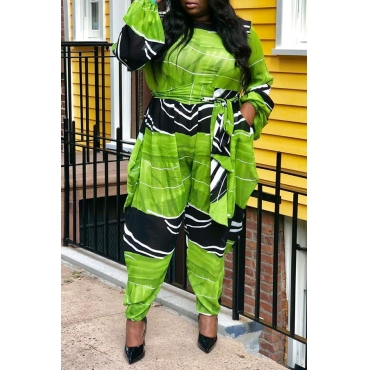 Lovely Trendy Printed Green Plus Size One-piece Jumpsuit