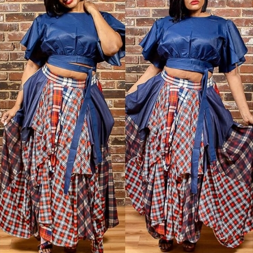 Lovely Casual Plaid Printed Blue Plus Size Two-piece Skirt Set
