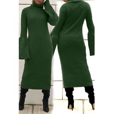Lovely Leisure Turtleneck Green Mid Calf Dress