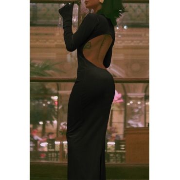 Lovely Party Turtleneck Backless Black Ankle Length Dress