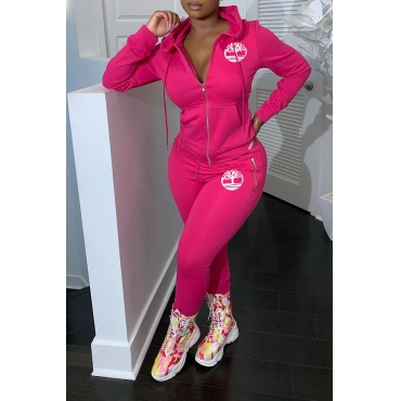 Lovely Casual Hooded Collar Printed Rose Red Two-piece Pants Set