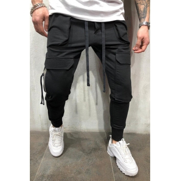 Lovely Casual Pocket Black Pants