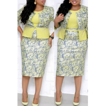 Lovely Casual Printed Yellow  Plus Size Two-piece Skirt Set