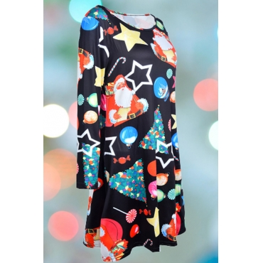 Lovely Christmas Day Printed Multicolor Knee Length Plus Size Dress