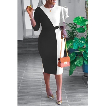 Lovely Sweet Patchwork Black And White Knee Length Dress