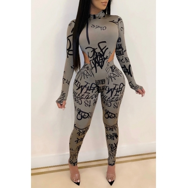 Lovely Sexy Letter Printed Skinny Grey Two-piece Pants Set