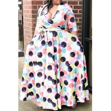 Lovely Casual V Neck Dot Printed White Floor Length Plus Size Dress