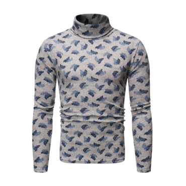 Lovely Casual Turtleneck Printed Grey T-shirt