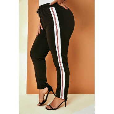 Lovely Casual Striped Patchwork Black Plus Size Pants
