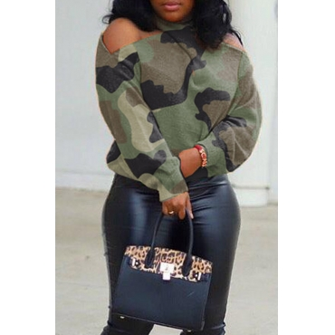 Lovely Casual Halter Camouflage Printed Sweater