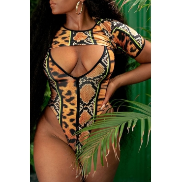 Lovely Printed Multicolor One-piece Swimwear(With T-shirt)