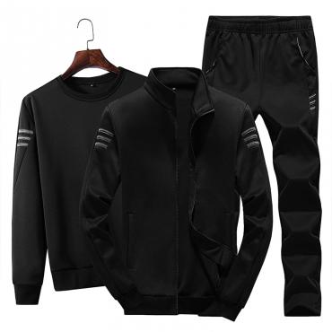 Lovely Casual Basic Printed Black Three-piece Pants Set