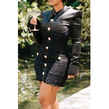 Lovely Casual Patchwork Buttons Design Black Mini Dress