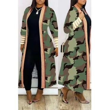 Lovely Casual Camo Print Long Coat