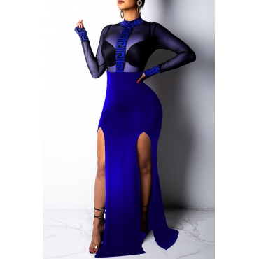 Lovely Sexy See-through Patchwork Blue Trailing Dress(Without Lining)