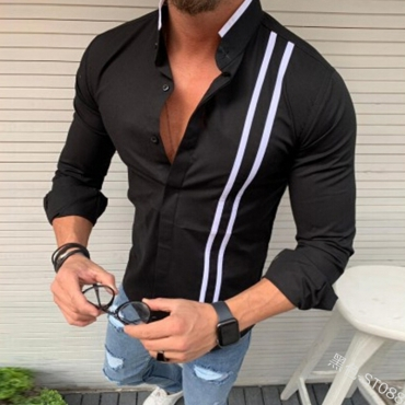 Lovely Casual O Neck Striped Black Shirt