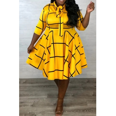 Lovely Casual Knot Design Yellow Knee Length Plus Size Dress