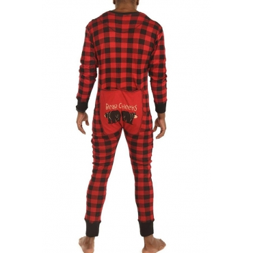 Lovely Family Plaid Printed Red And Black Father One-piece Jumpsuit