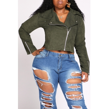 Lovely Casual Zipper Design Army Green Plus Size Jacket