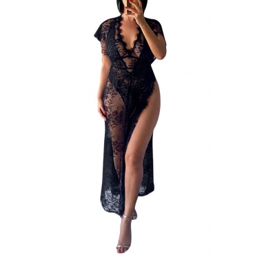 Lovely Sexy Lace Side High Slit Black Babydolls