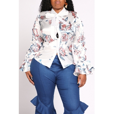 Lovely Chic Print White Plus Size Blouse