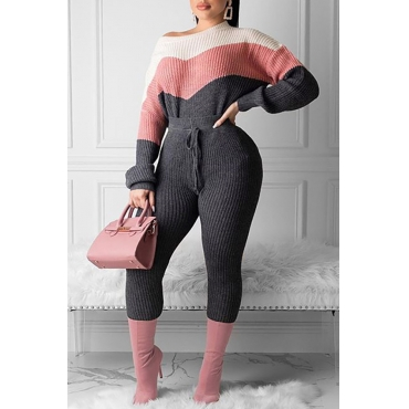 Lovely Trendy Color-lump Patchwork Pink Two-piece Pants Set
