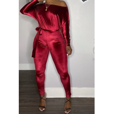 Lovely Casual Dew Shoulder Wine Red One-piece Jumpsuit