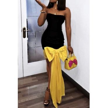 Lovely Sweet Patchwork Black Knee Length Prom Dress
