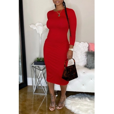 Lovely Casual O Neck Skinny Red Mid Calf Dress