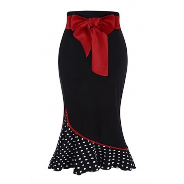 Lovely Sweet Dot Patchwork Black Skirt