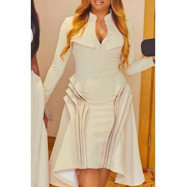 Lovely Party Ruffle Design Khaki Mid Calf Dress