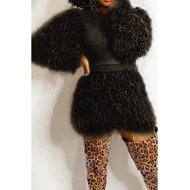 Lovely Casual Tassel Design Black Two-piece Skirt Set