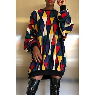 Lovely Trendy O Neck Geometric Multicolor Mini Dress